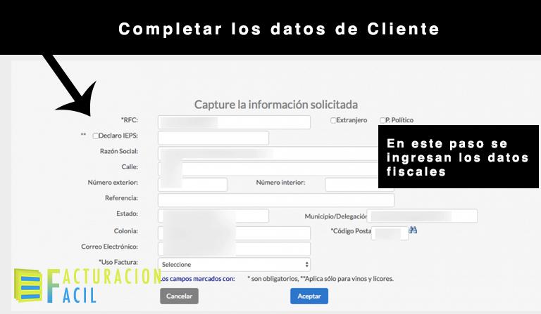 completar datos de cliente