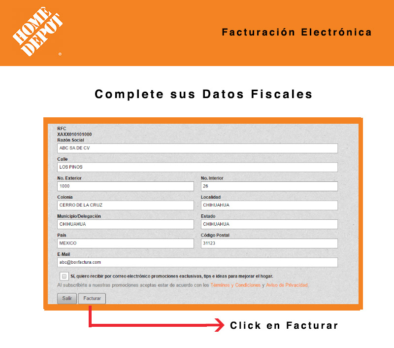 datos fiscales the home depot