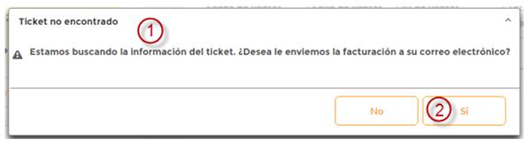 mensaje error de ticket