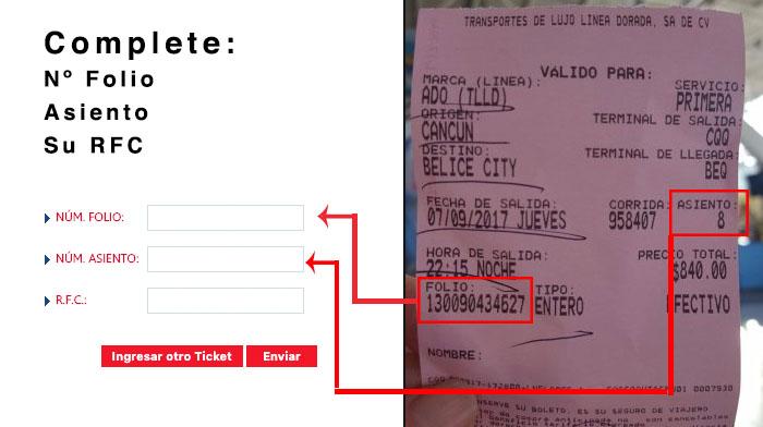 ticket ado facturacion