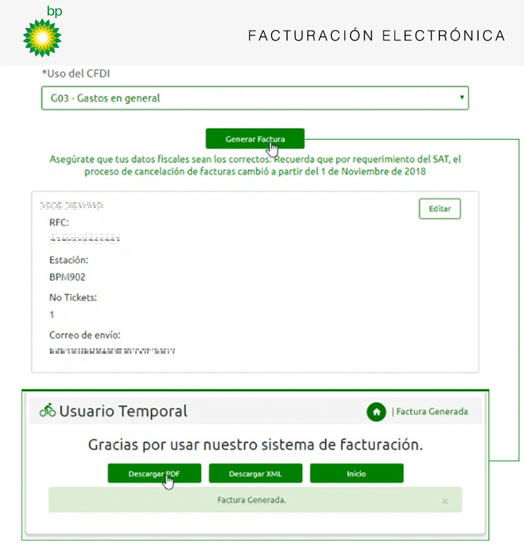 descargar factura bp