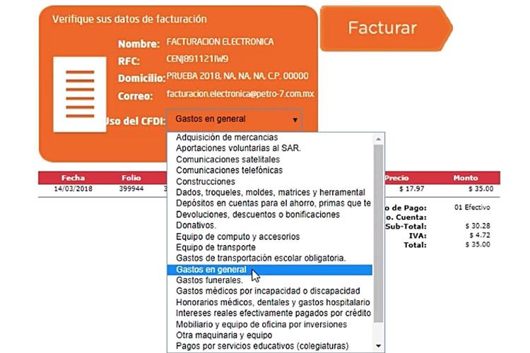 seleccionar datos de CFDI