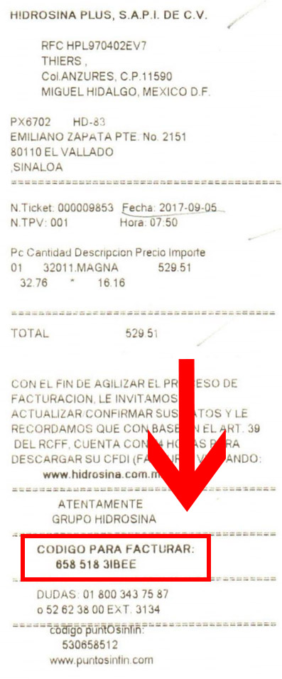ticket hidrosina