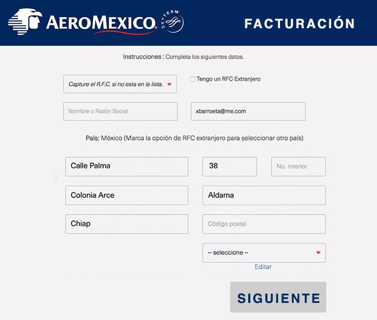 datos fiscales facturacion aeromexico