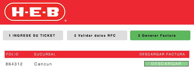 pantalla de descarga de factura heb