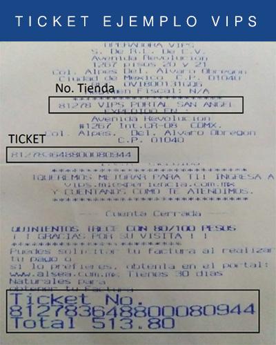 ticket de vips mx facturacion