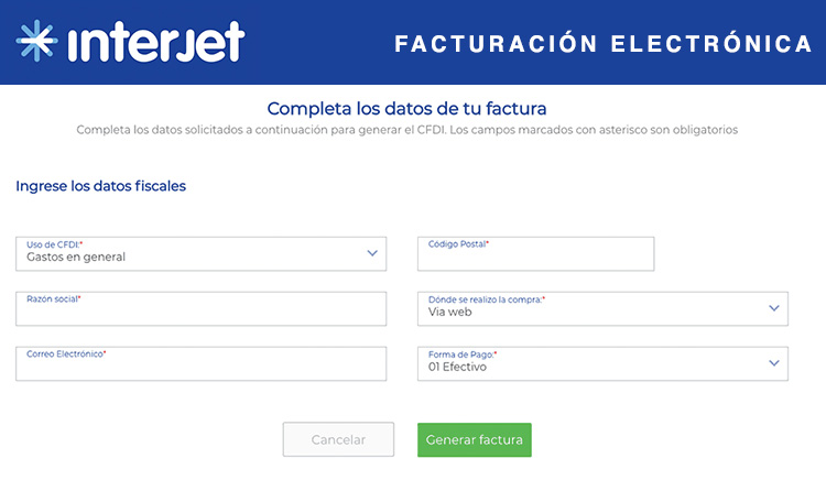 datos fiscales facturacion interjet