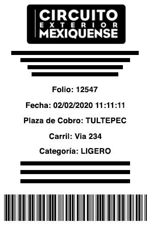 ticket de muestra circuito mexiquense